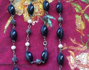 Antique Long Black Bead Necklace with Pearls
