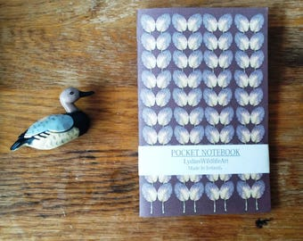 A5 Pocket Notebook, with a Purple Leaf Notebook Cover. A Leaf Art Stationary Print.  A Handmade Leaf Print Notebook, A Turnip Leaf Design.