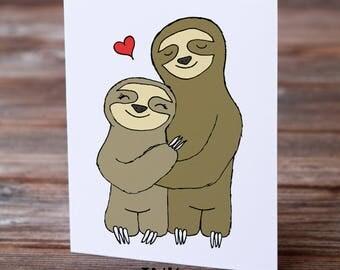Sloth Love Card, Sloth Card, Sloths, Sloth Anniversary, Cute Sloth, Kawaii Cards, Sloth Illustration,  Sloth Cuddle, Sloth Art, Sloth Décor