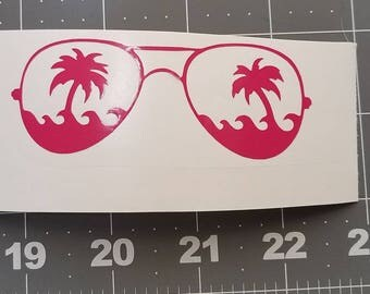 Sunglasses palm trees decal for tumbler, vinyl decal for yeti, vinyl decal car, vinyl decal custom, vinyl decal wall
