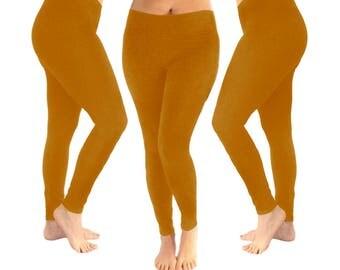 Mustard leggings, dark yellow leggings, yoga leggings, women's leggings, yellow leggings, leggings, cotton leggings, fall leggings, mustard