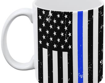 Distressed Thin Blue Line American Flag All Over Coffee Mug