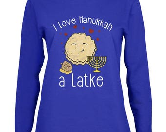 I Love Hannukah a Lot Latke Womens Long Sleeve T Shirt