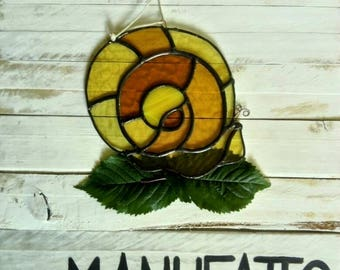 Snail spiral staircase glass stained glass