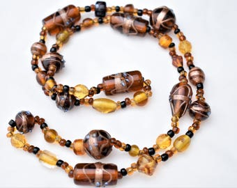 Vintage Chunky Rootbeer Floral Lampwork Glass Beaded Statement Necklace Retro Boho Costume Estate Jewelry 26""