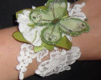 Wedding lace ivory and Butterfly bracelet
