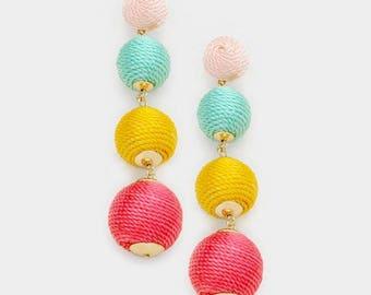 Bon Bon Earrings, Triple Ball Earrings, Thread Wrapped Ball Earrings, Ball Drop Earrings, Les Bon Bons