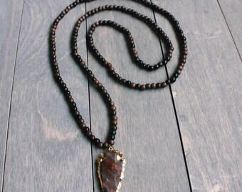Arrowhead Pendant and Ebony Beaded Necklace