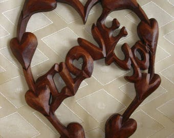 Wooden Love, I love you, I love you wood carving, Love carving wall, Handmade love gift, Valentine's day gift,  Wedding gift,  Gift of love