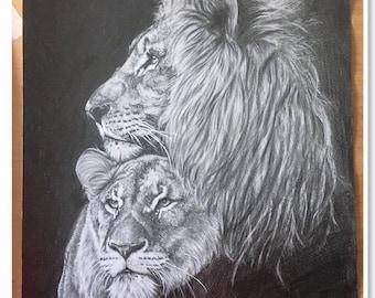 "portrait animalier au crayon graphite ""Feline Love"""