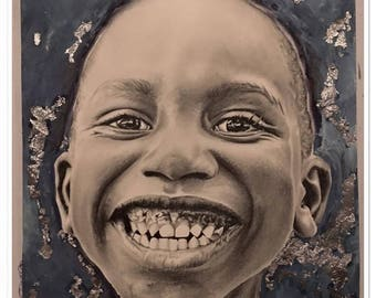 "Portrait of child in graphite and ink ""Has teeth"""