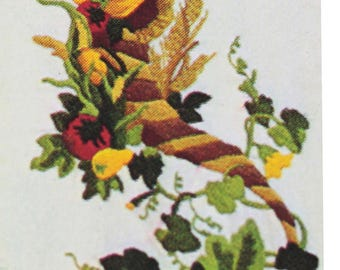 "Thanksgiving Cornucopia Bell Pull Crewel Embroidery Kit Various Stitches 9""x36"""
