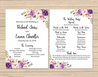 Purple Floral Boho Wedding Program, Printable Boho Wedding Program, Floral Order of Service, Lilac Order of the Ceremony, Download 121-W