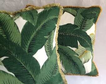 Green palm leaf fabric cushion, pillow with a choice of gold or green fringing