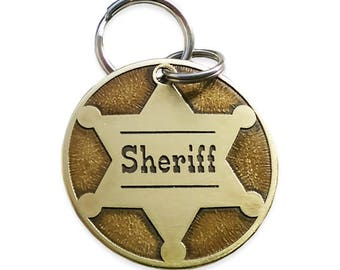 Dog ID tag - handcrafted -  customize front and back // dog tags  // pet id tag // dog id tag // sheriff dog tag //custom dog tag