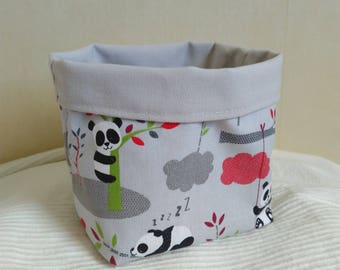 Fabric basket empty Pocket grey and red pandas