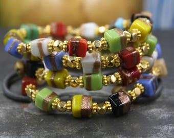 Women's Beaded Bracelet, Hand Painted Indian Beads, Brass Indian Jingle Bell, Gold Spacer Beads, Everest Bracelet