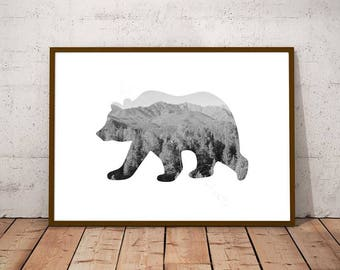 Forest Bear Print, Rustic Bear Print, Wild Bear Art, Rustic Bear Wall Art, Monochrome Bear Art, Rustic Forest Wall Art, Woodland Lodge Decor