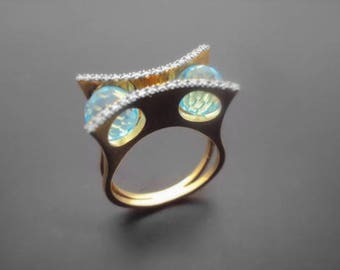 Diamond Ring, 14k Yellow Gold, 14k White Gold,Zirconia,quartz
