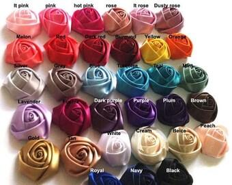 25% SALE WHOLESALE Satin Roses Satin Rosettes Vintage Roses Wedding Roses Flowers Beautiful Rolled Satin Rosettes Embellishments Wedding Acc