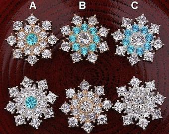 20% SALE Elegant SNOWFLAKE Rhinestone Flat Back Embellishments For DIY Bling Accessories Christmas Snowflake Winter Snowflake Metal Snowflak