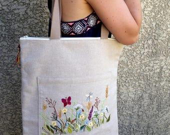 Bag, tote bag Embroidered handmade linen blend