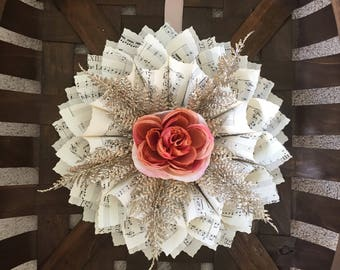 Paper Wreath - sheet music wreath - book page decor - piano teacher gift - rustic wedding decor