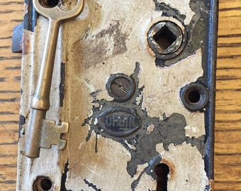 Antique steel Corbin interior box lock/rim lock with key
