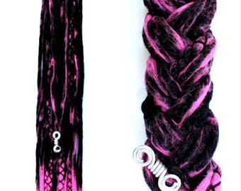 "10 DE Wooldreads ""Black & Pink marbled"""