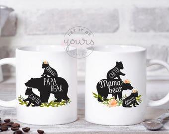 Mama and Papa Bear Mugs, Papa Bear Mug, Papa Bear, Fathers Day, Mother's Day, Baby Shower Gift, Mama Bear Mug, Gift For Mom, Custom Mug