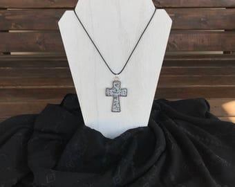 Crystal Opal Cross Necklace