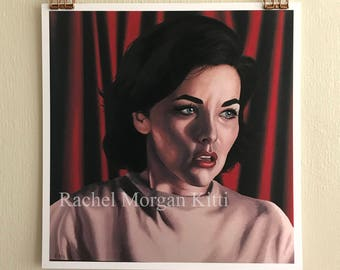 Audrey Horne, Twin Peaks, David Lynch, Portrait, Red Curtain, One Eyed Jacks, Dale Cooper, Oil Paint, Oil Painting, Art Print, Sherilyn Fenn