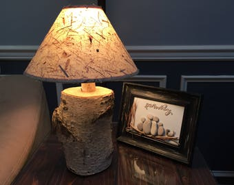 Birch lamp shade etsy birch tree log table lamp mozeypictures Gallery