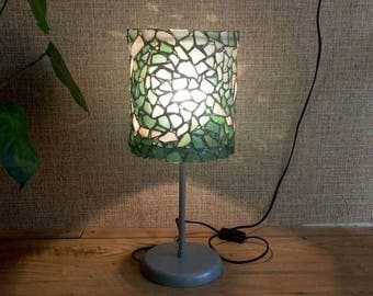 """Mosaic OOAK  blue-white sea glass stained glass table bedroom lamp """"Storm"""", sea waves pattern"""