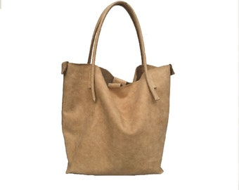 Big leather bag Tote bag shopper Siena-Leather used look handmade