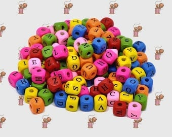 Lot of 500 beads multicolored alphabet wood 10 mm x 10 mm
