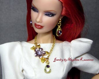 Set Jewelry dolls Fashion royalty, Poppy Parker, Barbie or BjD - necklace and earrings