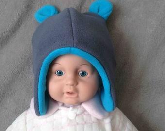 With bear ears baby bonnet