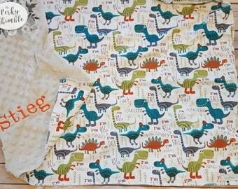 Dinosaur Baby Blanket, Minky baby blanket, Embroidered Dinosaur Blanket, Dinosaur Nursery Bedding, Dinosaur baby gift,