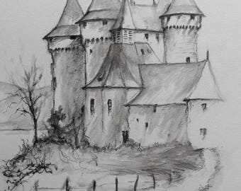 Watercolor drawing and wash the Chateau de Val