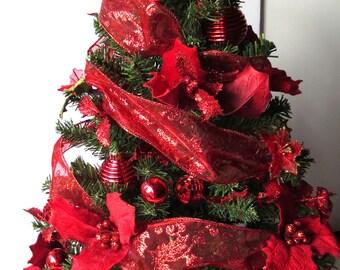 Shimmery Red, tabletop Christmas Tree, Christmas Decoration, OOAK Christmas, Topiary Tree, Mini Christmas Tree, Home Decor, Handmade, Gift