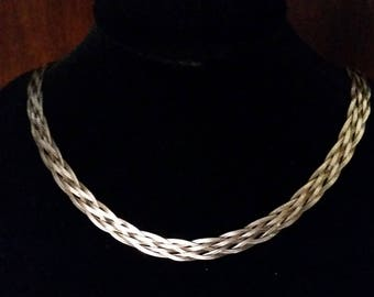 Braided Silver Chain Necklace