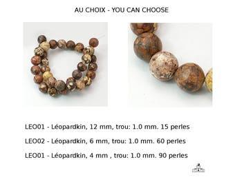 Léopardkin, Ø 11,5-12 mm  -Ø 6-5.5 mm -Ø 4-3.5 mmde diamètre, trou: 1.0 mm. rouge , forme rondes  (APS-PH-GSRxxmmC066-leopardskin-608)