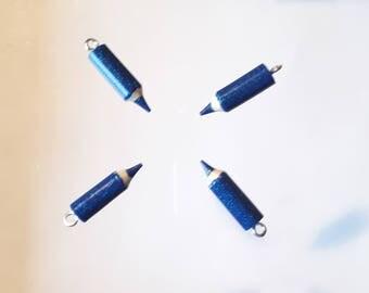 4 small pencils made handmade blue glittery 20 mm - fimo - disco vibe - teacher thank you charm - kawaii