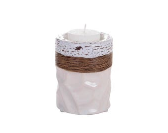 White cylindrical candle holder
