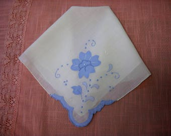 Vintage Appliqued Wedding Bridal Handkerchief Hanky