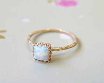 14k White Opal ring - solid Gold Opal Ring - white Opal - Small Opal Ring - Opal Ring - October Birthstone - Opal Jewelry - 14k Gold Ring