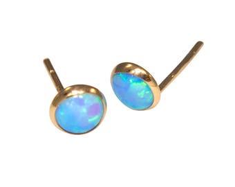 Gold Opal Studs | Opal Earrings | Gold Stud Earrings | 14K Gold Earrings | Gold Studs | Opal Jewelry | Blue Opal | October Birthstone