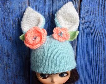 Blythe hat Doll Hat Blythe Bunny Cap Blythe Easter Outfit Blythe Doll Clothes Blythe hare Hat Blythe rabbit hat Blythe Bunny hat Blythe