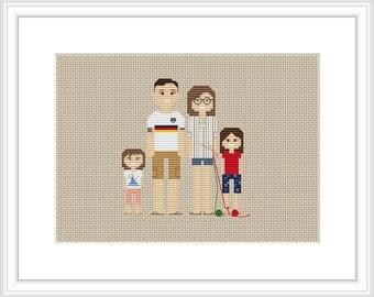 Custom Family Portrait Cross stitch pattern